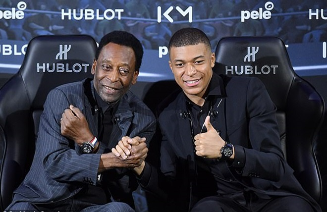 Pele gặp Kylian Mbappe tại sự kiện đồng hồ Thụy Sĩ - Bóng Đá