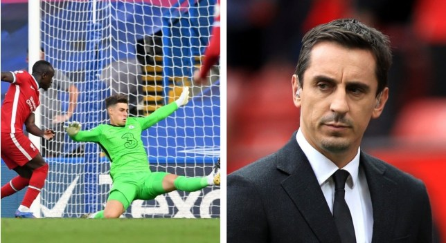 Gary Neville reacts to Kepa Arrizabalaga's latest mistake for Chelsea in Liverpool defeat - Bóng Đá
