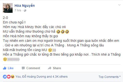 Hòa Minzy phấn khích khi hết bị fan Man Utc nhắc tên - Bóng Đá