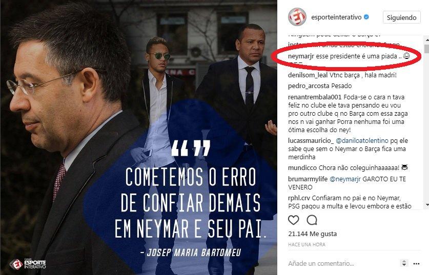 Neymar công khai gọi chủ tịch Barcelona là 'tên hề'