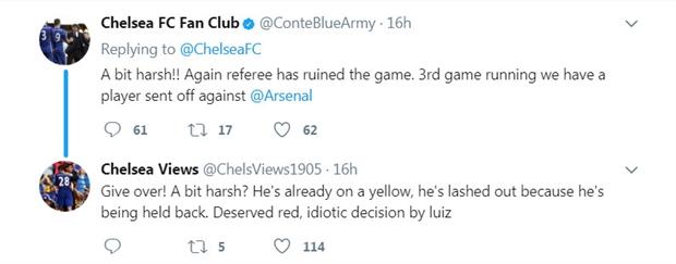 CĐV Chelsea tranh cãi nảy lửa vì chiếc thẻ đỏ của David Luiz - Bóng Đá