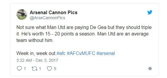 Ngay cả các CĐV Arsenal cũng phải ngã mũ trước De Gea - Bóng Đá