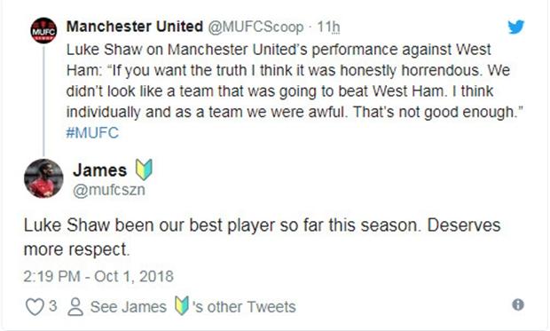 Bảo vệ Mourinho, Shaw trở thành tâm điểm bàn tán của CĐV Man Utd - Bóng Đá