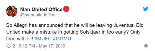 CĐV Man Utd tiếc vì Allegri bị sa thải quá... muộn - Bóng Đá