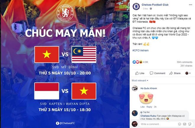 Fanpage của CLB Chelsea gửi lời chúc đến đội tuyển Việt Nam - Bóng Đá