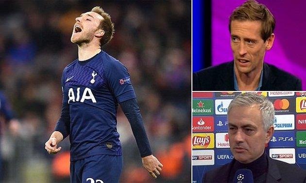Peter Crouch says Mourinho was 'protecting his players' in post-match interview as wantaway playmaker goes missing in defeat at Bayern (Christian Eriksen) - Bóng Đá