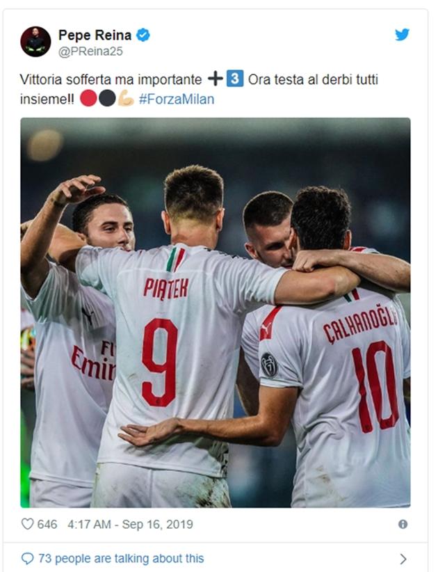 Pepe Reina nhắn gửi các đồng đội tại AC MIlan - Bóng Đá