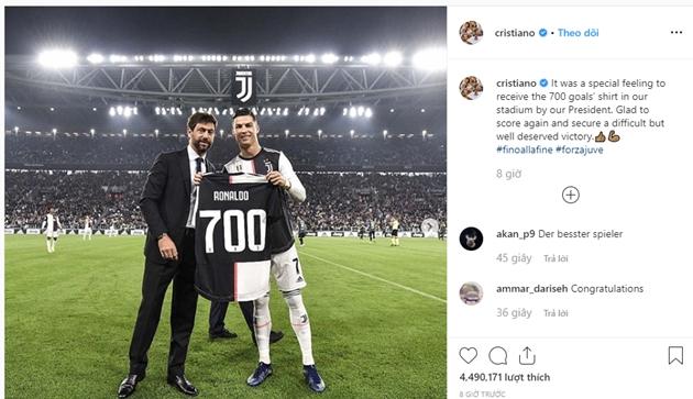 Ronaldo viết trên Instagram sau trận gặp Bologna - Bóng Đá