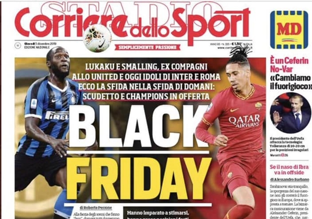 Vì Smalling, Lukaku, AC Milan và AS Roma tuyên bố cấm cửa Corriere dello Sport - Bóng Đá