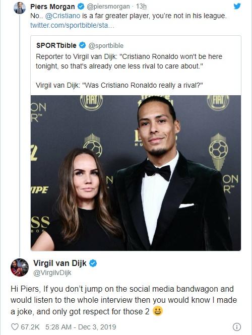 Virgil van Dijk clears up Cristiano Ronaldo 'dig' at Ballon d'Or awards   Read more: https://metro.co.uk/2019/12/03/virgil-van-dijk-clears-cristiano-ronaldo-dig-ballon-dor-awards-11259016/?ito=cbshare  Twitter: https://twitter.com/MetroUK   Facebook: https://www.facebook.com/MetroUK/ - Bóng Đá