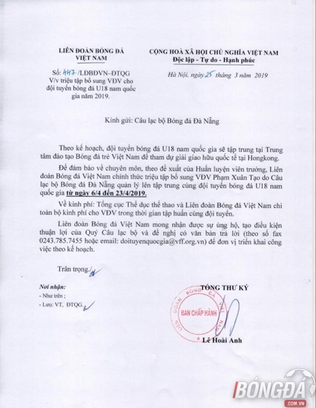 HLV Hoàng Anh Tuấn gọi Xuân Tạo bổ sung cho U18 Việt Nam - Bóng Đá
