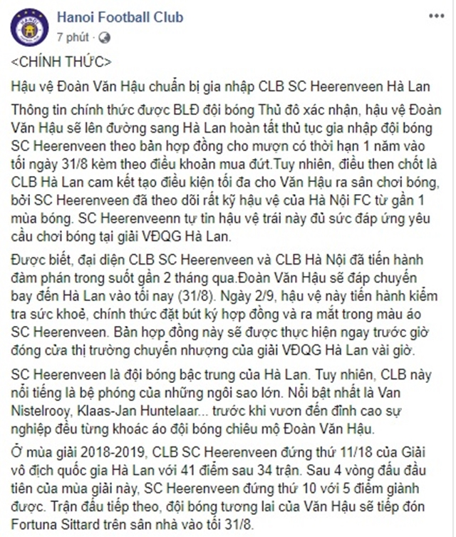 NÓNG: Không sang Thái Lan, Đoàn Văn Hậu gia nhập CLB SC Heerenveen (Hà Lan) - Bóng Đá
