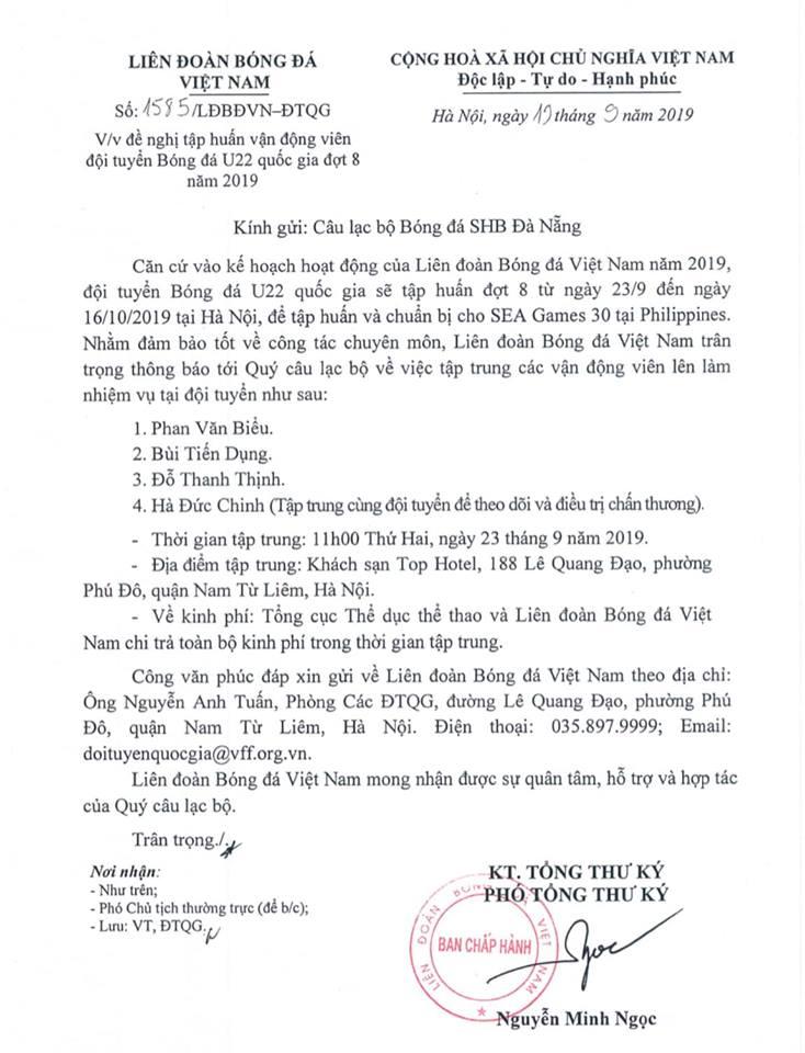 Vì lý do đặc biệt, Hà Đức Chinh cũng sẽ hội quân cùng ĐT Việt Nam - Bóng Đá