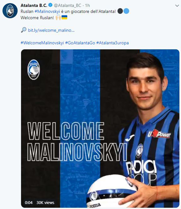 Official: Atalanta sign Malinovskyi - Bóng Đá