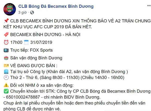'Cháy vé' trận giải quyết nội bộ của Việt Nam ở CK AFC Cup Đông Nam Á - Bóng Đá