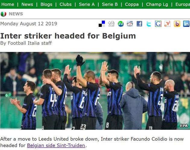 Inter striker headed for Belgium (Sint Truident của Phượng) - Bóng Đá