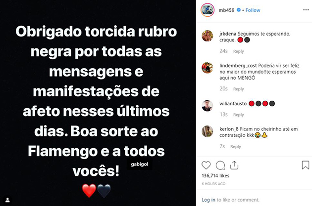 Balotelli wishes Flamengo: 'Good luck to all of you' - Bóng Đá