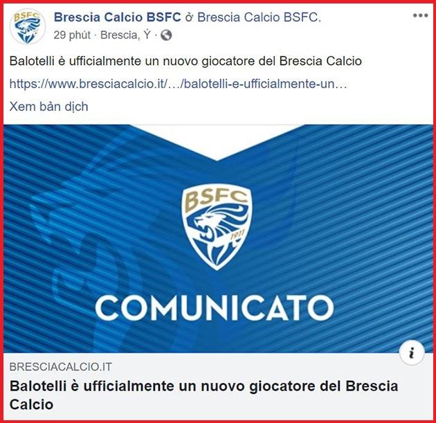 CHÍNH THỨC: 'Cậu bé hư' nước Ý đầu quân cho Brescia - Bóng Đá