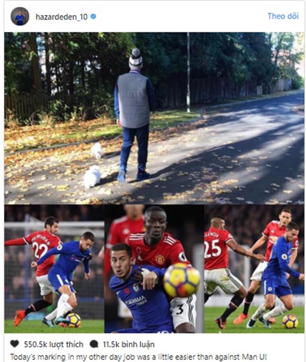 SỐC: Hazard dùng hình ảnh... dắt chó để trêu ngươi Man Utd - Bóng Đá