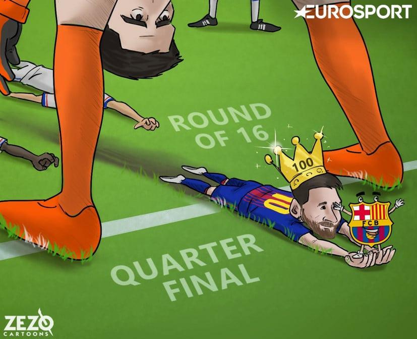 Biếm họa: Háng Courtois rộng thênh thang; Mourinho bị đập tơi tả