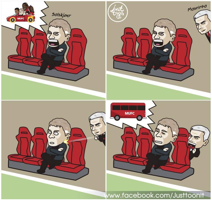 Biếm họa: 'Xe buýt' của Mourinho ám ảnh Solskjaer - Bóng Đá