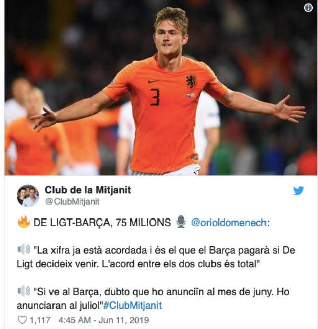 Barcelona 'agree' fee with Ajax for Matthijs de Ligt - Bóng Đá