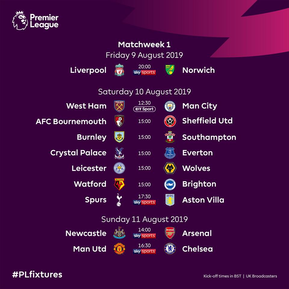 CHÍNH THỨC! Công bố lịch thi đấu Premier League 2019/20 - Bóng Đá