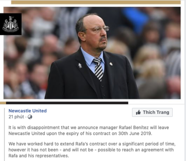 Rafael Benítez will leave Newcastle United - Bóng Đá