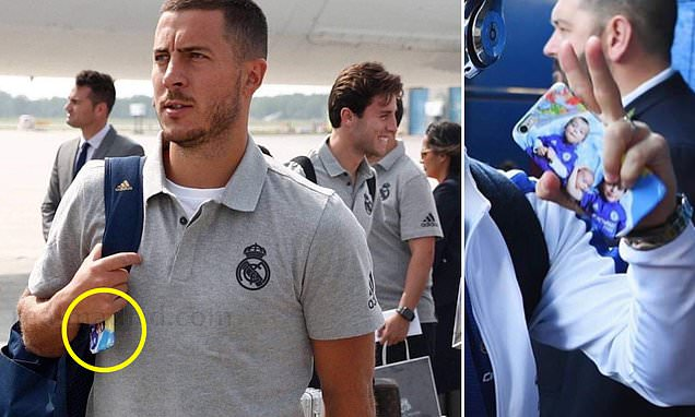 Fans notice Real Madrid new boy Eden Hazard has photo of his kids wearing Chelsea shirts on his phone case - Bóng Đá