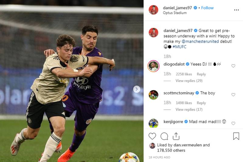 Five Manchester United players comment on Daniel James' Instagram post and give him new nickname - Bóng Đá