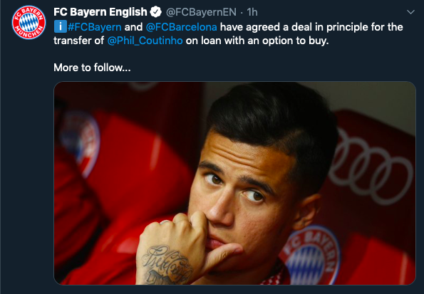 Bayern Munich confirm deal for former Liverpool star Philippe Coutinho from Barcelona - Bóng Đá