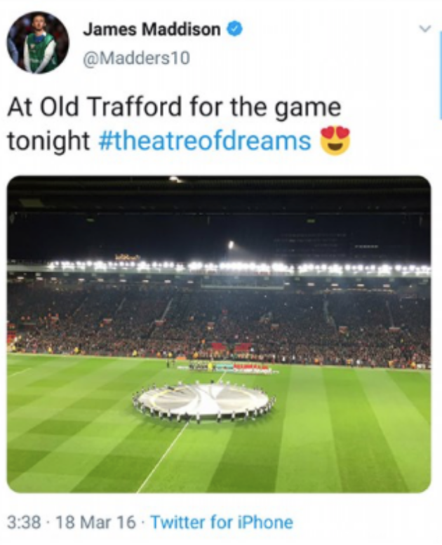 James Maddison posted picture about Old Trafford - Bóng Đá
