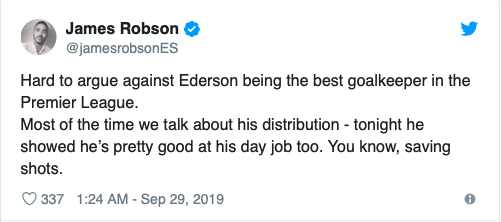 'Miles better than De Gea' and 'Alisson could never' – These fans believe City's Ederson is the best goalkeeper in the league - Bóng Đá