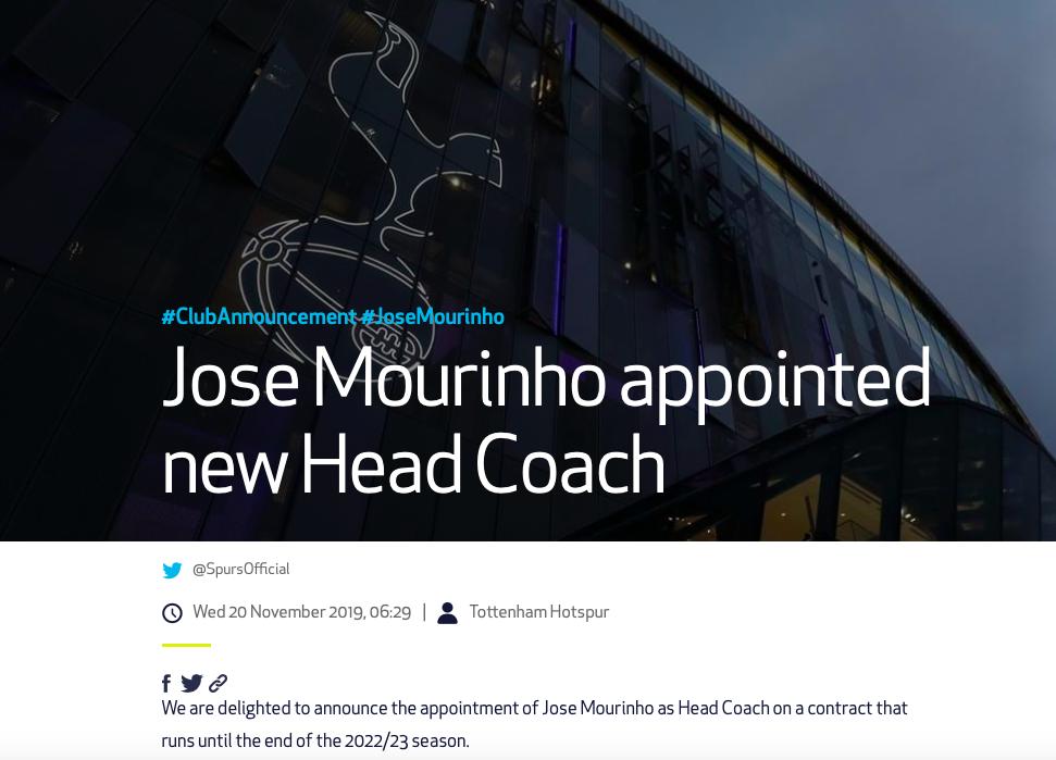 CHÍNH THỨC! Jose Mourinho tái xuất Premier League - Bóng Đá