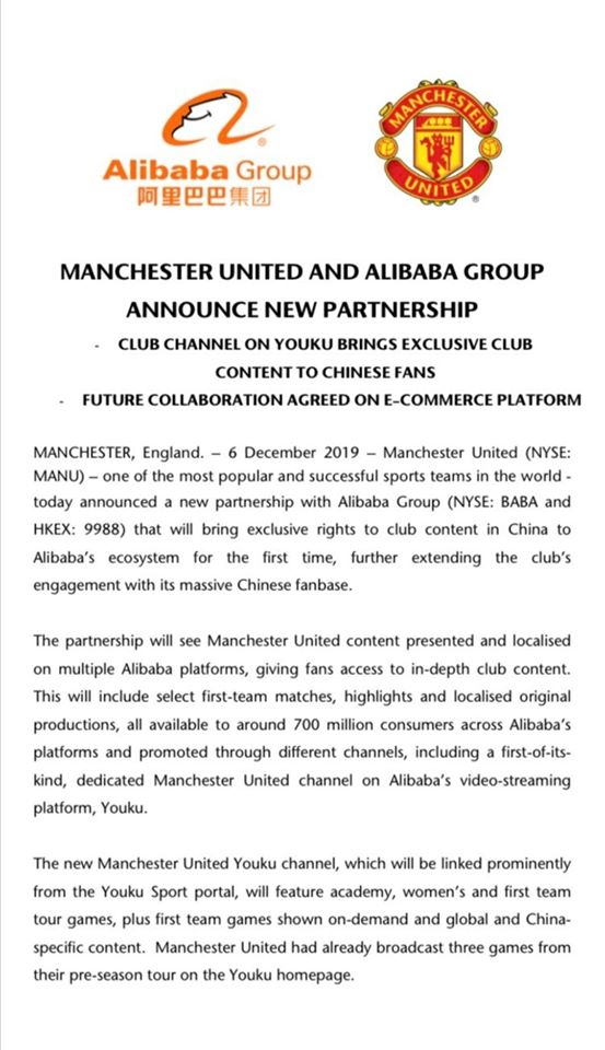 Man Utd sign with Alibaba - Bóng Đá