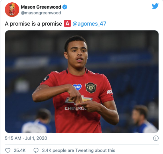 Greenwood pays Gomes tribute in Man Utd goal celebration - Bóng Đá