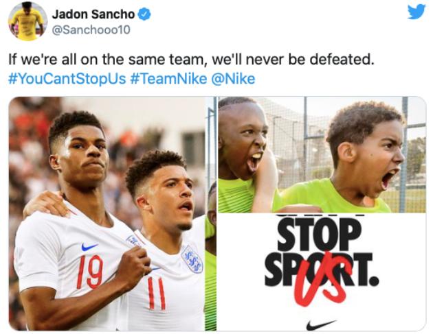 Jadon Sancho shares image alongside Marcus Rashford as Man Utd transfer talk intensifies - Bóng Đá