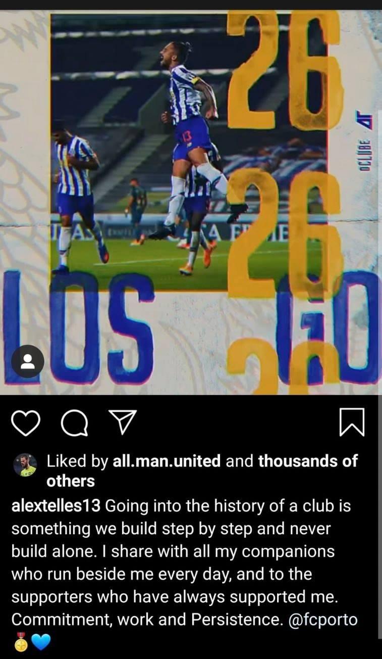 Alex Telles posted cryptic message before Man Utd transfer - Bóng Đá