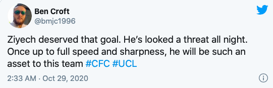 Chelsea fans impressed by Hakim Ziyech on his first Blues start - Bóng Đá