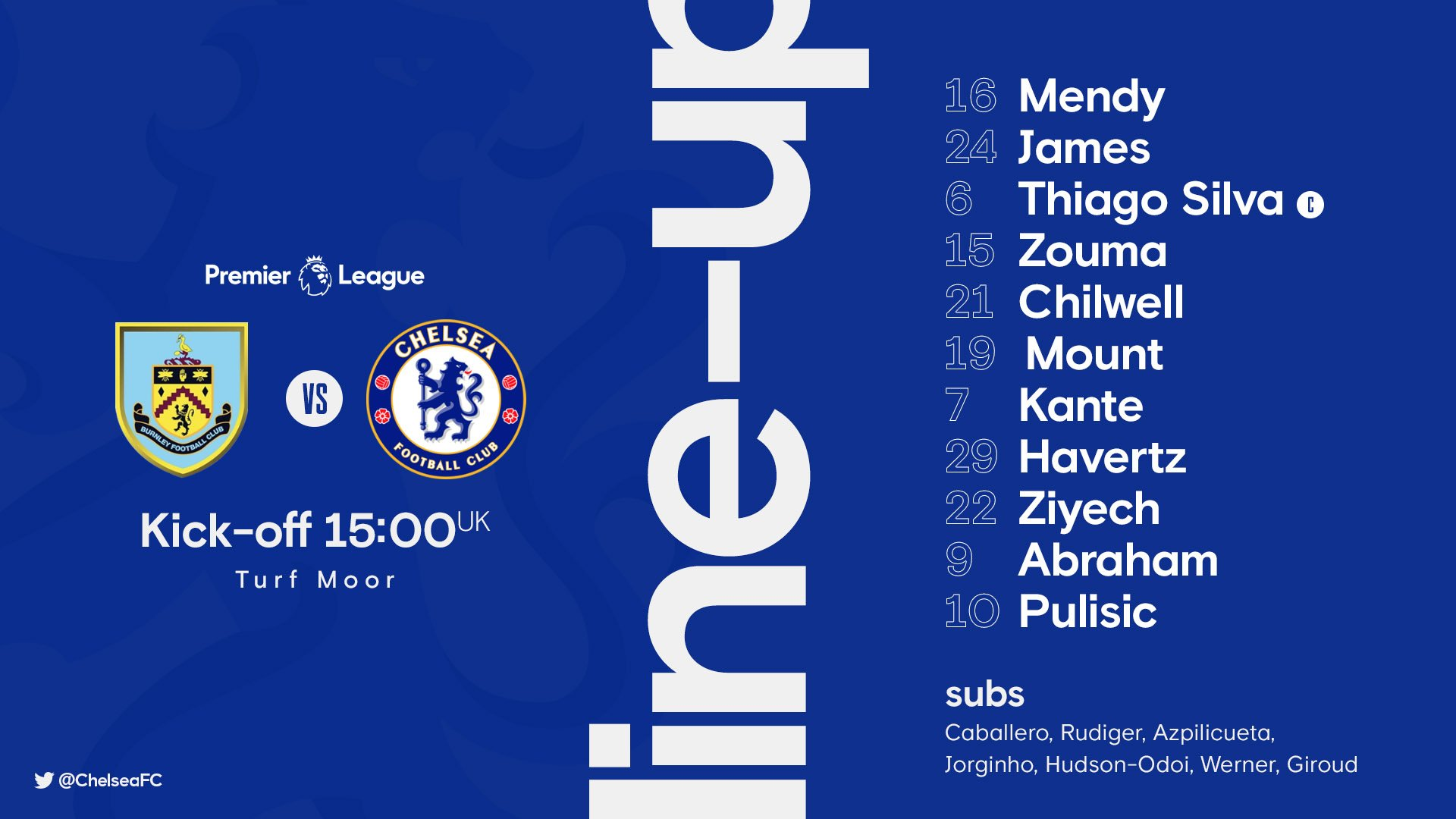 Christian Pulisic replaced by Timo Werner in Chelsea team for Burnley clash after suffering injury in warm-up - Bóng Đá