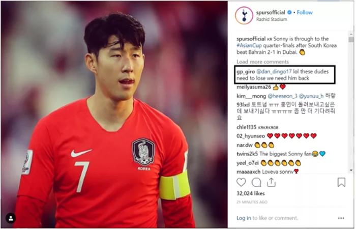 Thật tồi tệ, lẽ ra Hàn Quốc phải thua, chúng ta cần anh ấy trở lại Tottenham.