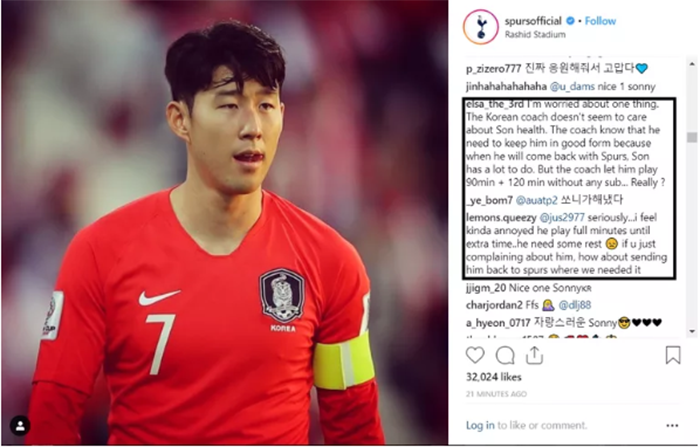 HLV Hàn Quốc có vẻ không quan tâm lắm đến thể lực của Son. Ông ấy cần biết rằng cậu ấy cần có được sự sung mãn khi trở lại Spurs. Son còn rất nhiều việc phải làm ở CLB.