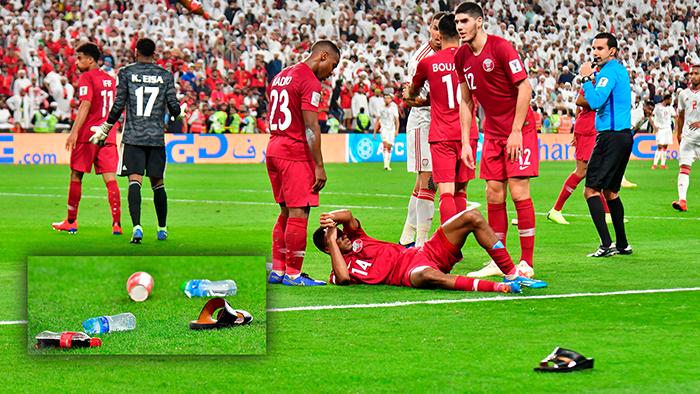 AFC vào cuộc điều tra hành vi ném giày dép vào ĐT Qatar của CĐV UAE - Bóng Đá