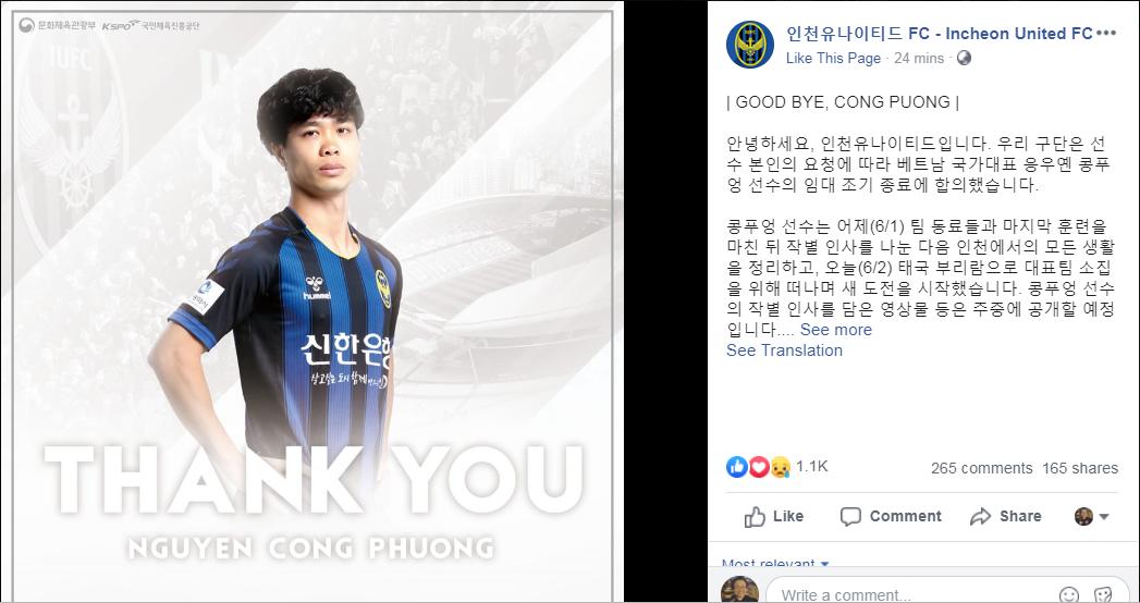 Chia tay Công Phượng, Incheon United gửi gắm những lời