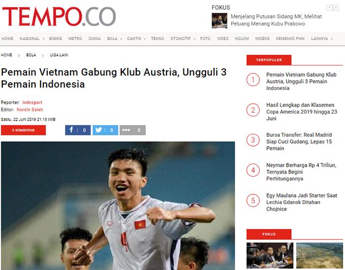 Báo Indo: Văn Hậu sắp đến Áo, vượt mặt 3 ngôi sao của bóng đá Indonesia (bola.tempo) - Bóng Đá