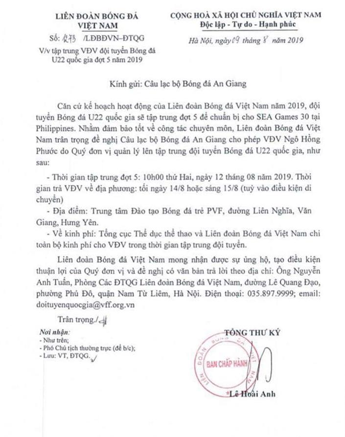 NÓNG: Ngô Hồng Phước được thầy Park triệu tập lên U22 Việt Nam - Bóng Đá
