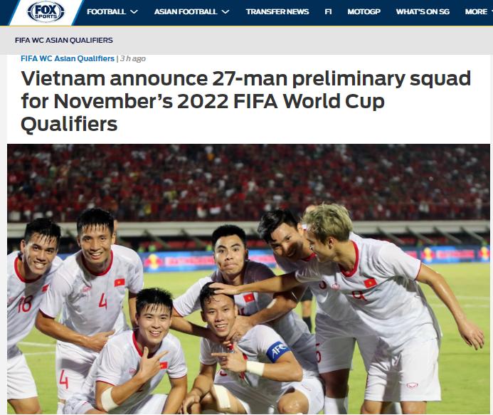 Báo châu Á nói gì về danh sách sơ bộ 27 cầu thủ của ĐT Việt Nam? (Fox Sports Asia)) - Bóng Đá