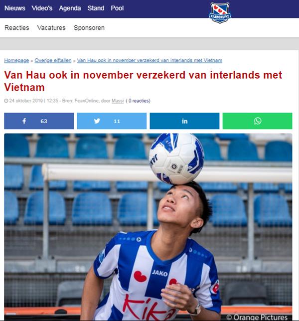Báo Hà Lan: Chưa ra sân ở Heerenven, Văn Hậu vẫn chiếm trọn niềm tin của thầy Park - Bóng Đá