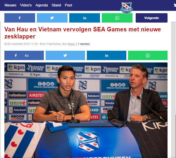 Báo Hà Lan: Lẽ ra Đoàn Văn Hậu đã có bàn thắng cho U22 Việt Nam - Bóng Đá
