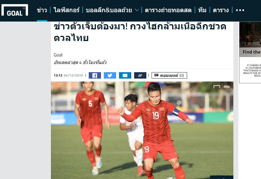 Truyền thông Thái Lan nói 1 điều về chấn thương của Quang Hải - Bóng Đá